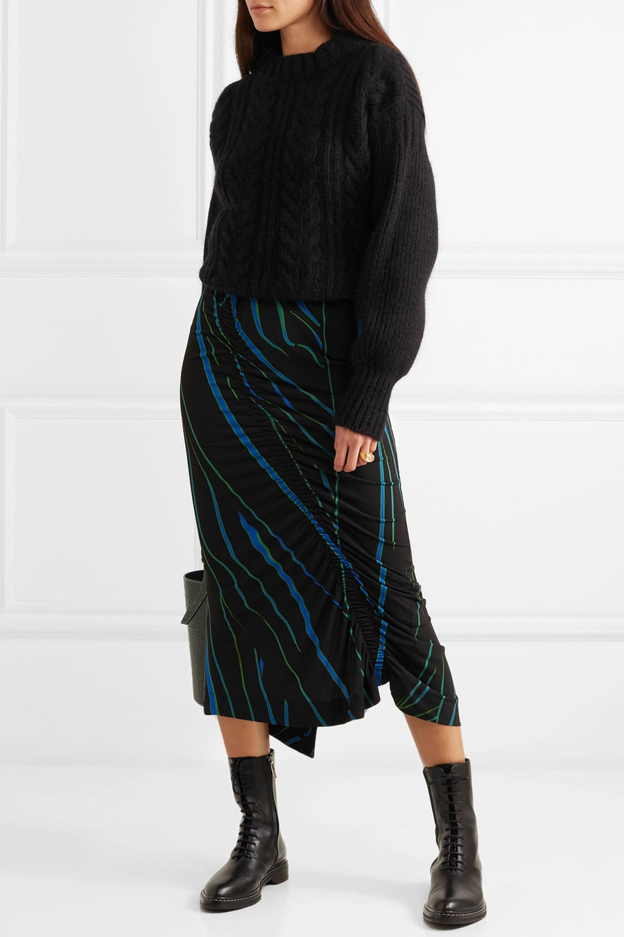 PREEN BY THORNTON BREGAZZI Tracy Ruched Printed Stretch-crepe Midi Skirt
