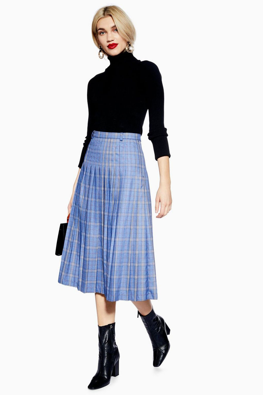 Topshop Check Pleated Skirt by Norr