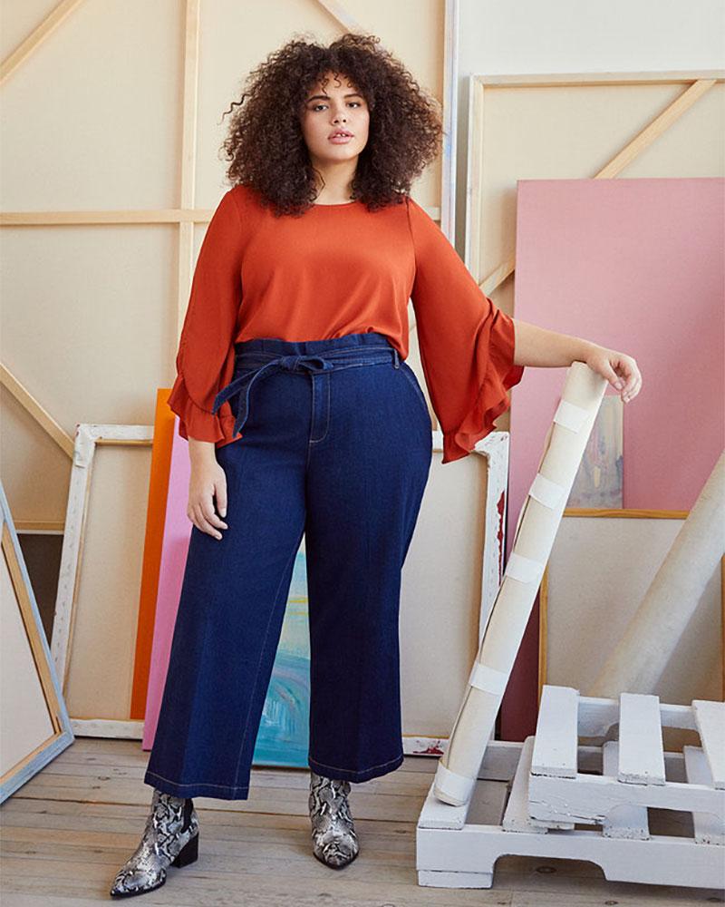 Eloquii Crop Paper Bag Waist Trouser Jean