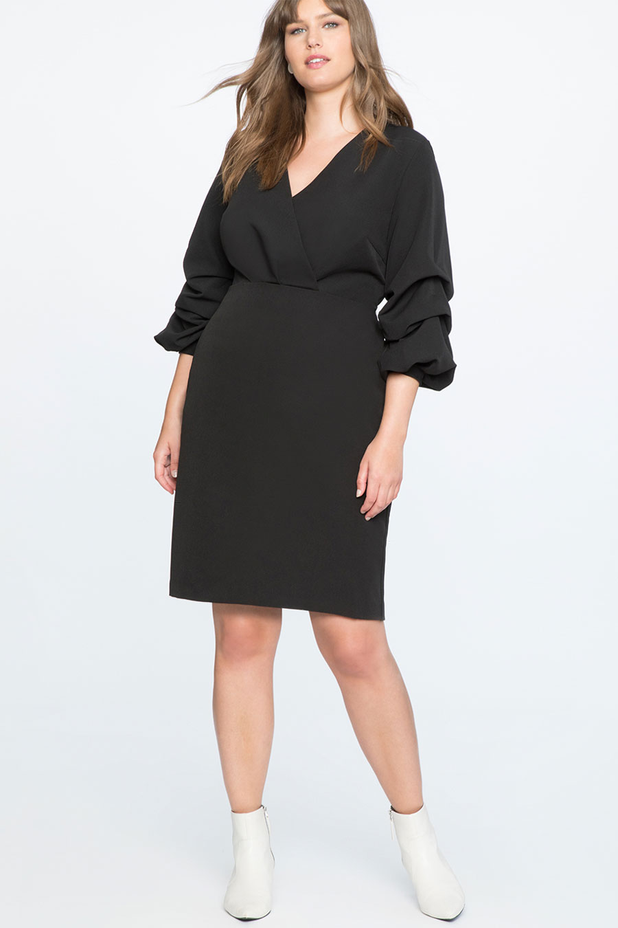Eloquii Puff Sleeve Overlap V-Neck Dress