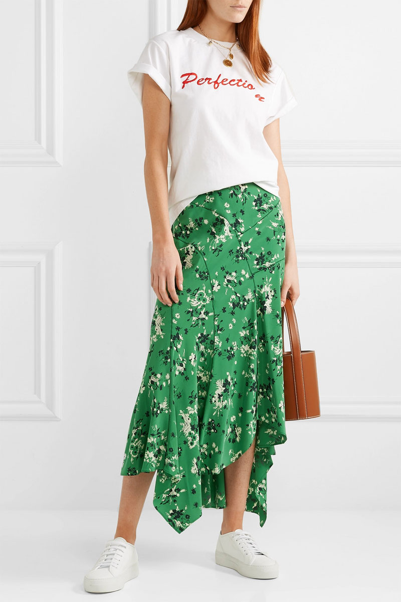 VERONICA BEARD Mac Asymmetric Floral-print Silk-blend Midi Skirt