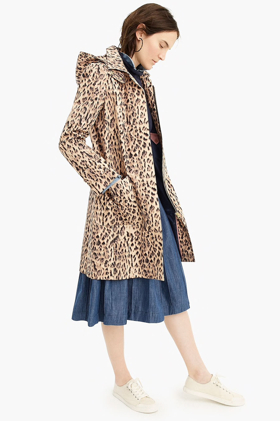 J.Crew Leopard-print Trench Coat with Removable Hood