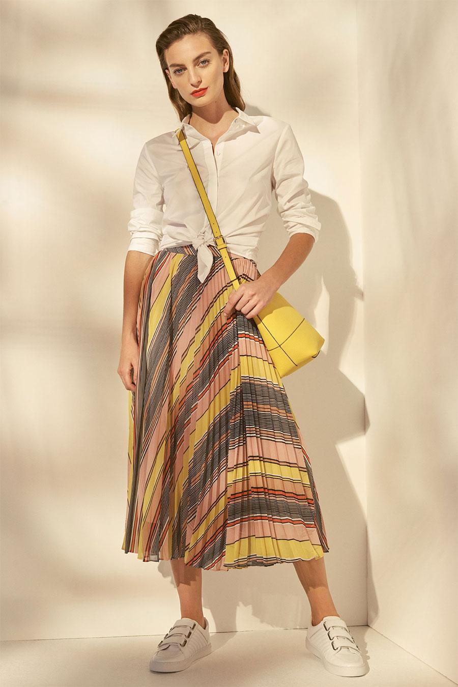 Karen Millen Abstract Pleated Midi Skirt