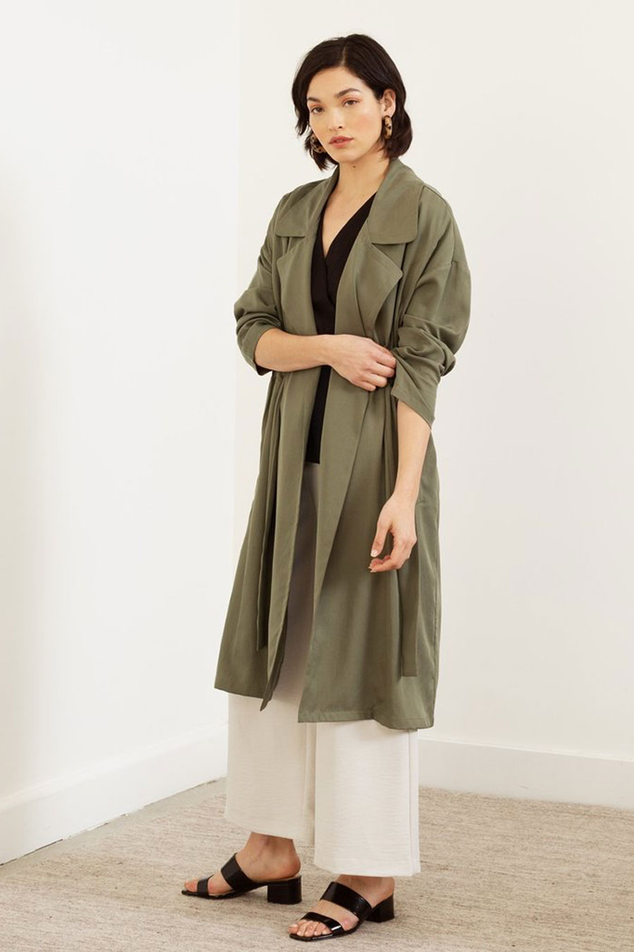 Modern Citizen Elettra Tie Front Trench Coat