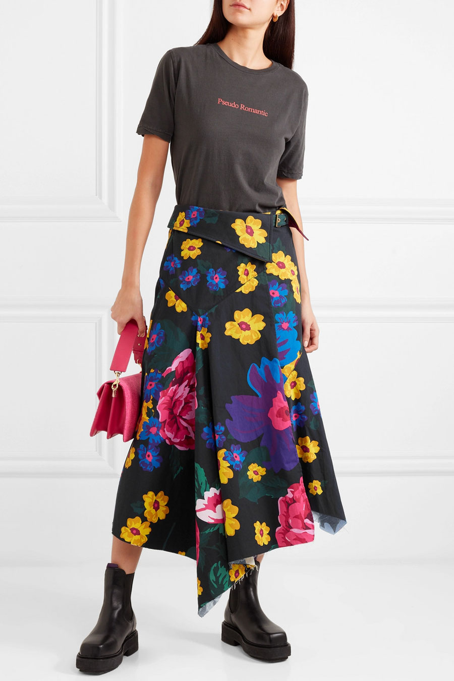 MARQUES' ALMEIDA Floral-print Asymmetric Cotton-voile Wrap Midi Skirt