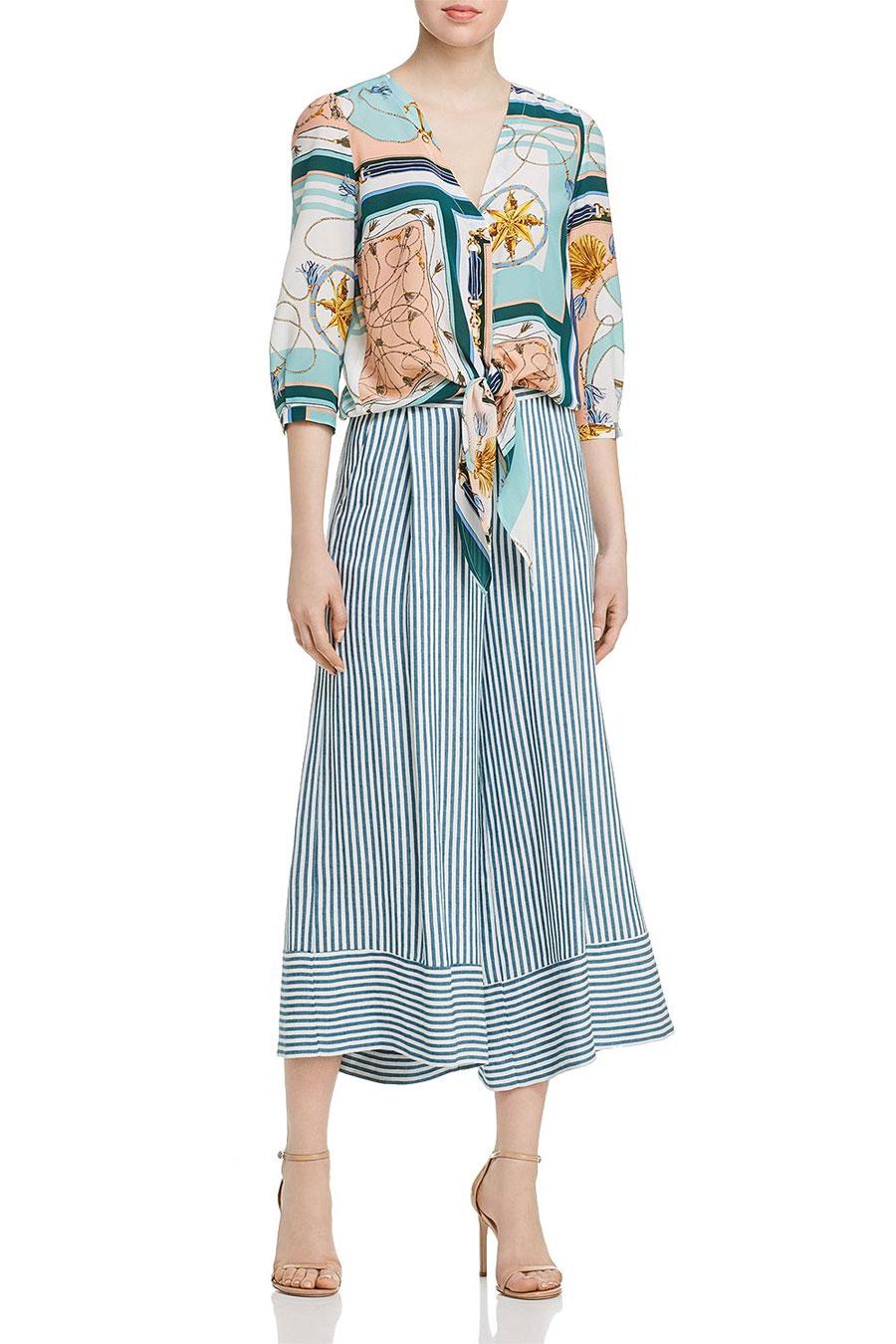 Marella Tris Printed Tie Front Silk Blouse