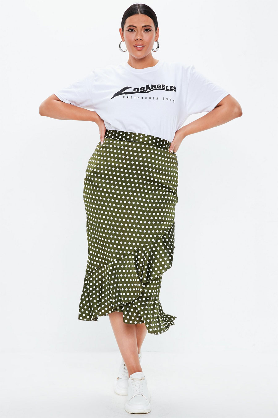 Mssguided Plus Size Khaki Polka Dot Wrap Over Midi Skirt
