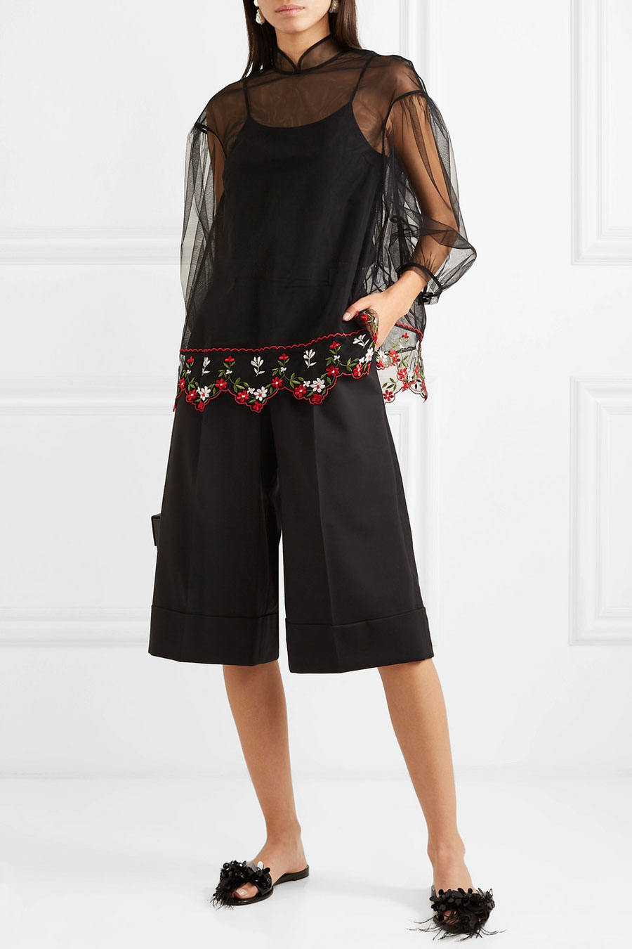 SIMONE ROCHA Belted Feather-trimmed Wool-blend Shorts