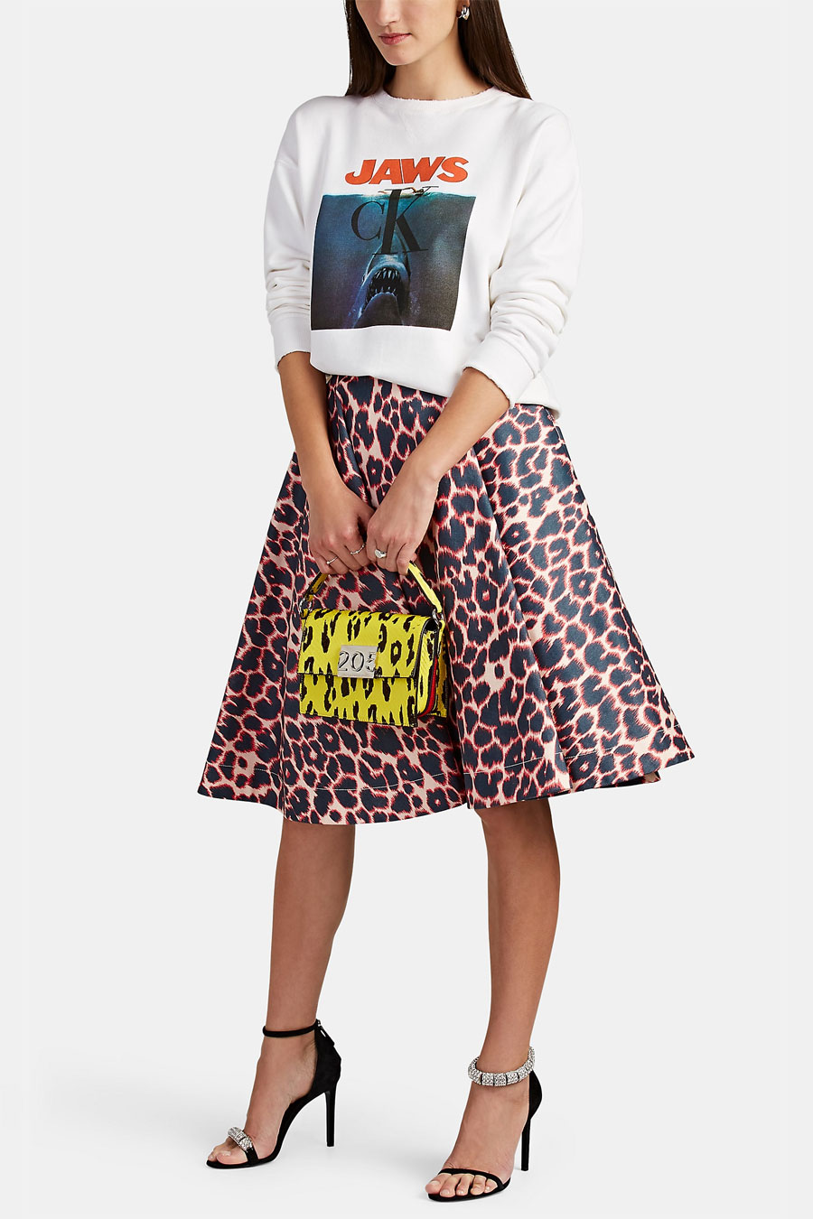 CALVIN KLEIN 205W39NYC Leopard Print Cotton Full Skirt