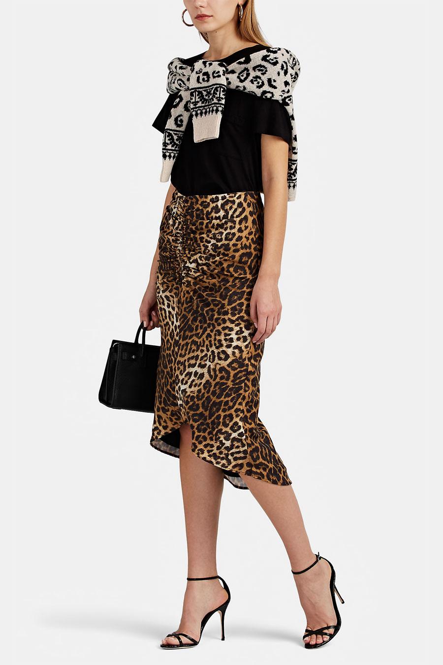 FIVESEVENTYFIVE Ruched Leopard Print Midi Skirt