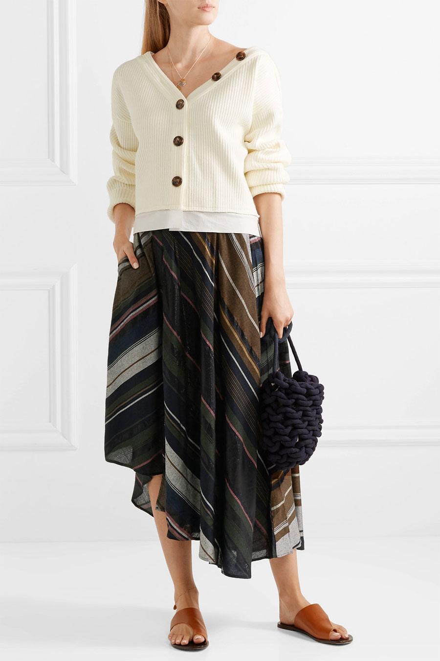 APIECE APART Turkanna Wrap-effect Striped Voile Midi Skirt