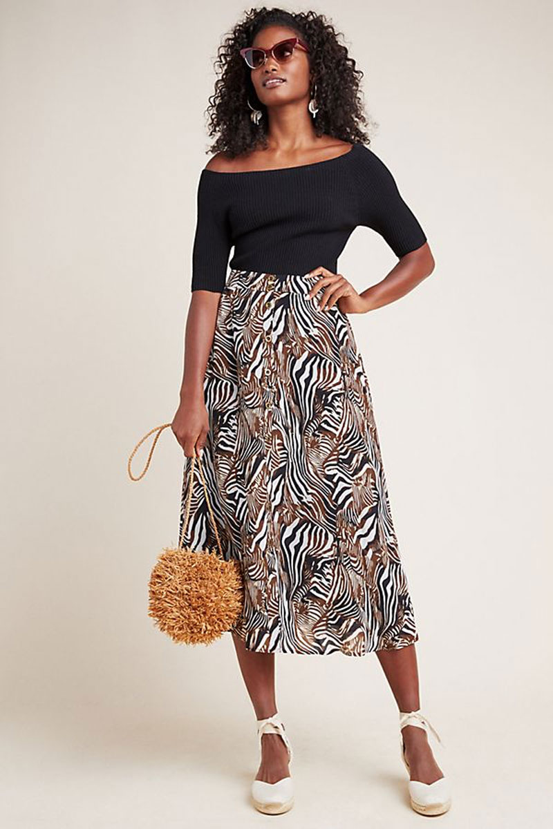 Anthropologie Zebra Button Front Skirt