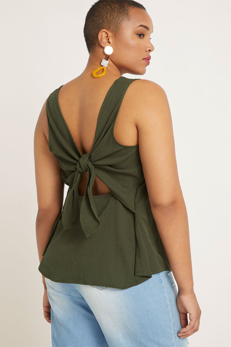 Eloquii Bow Back Sleeveless Top