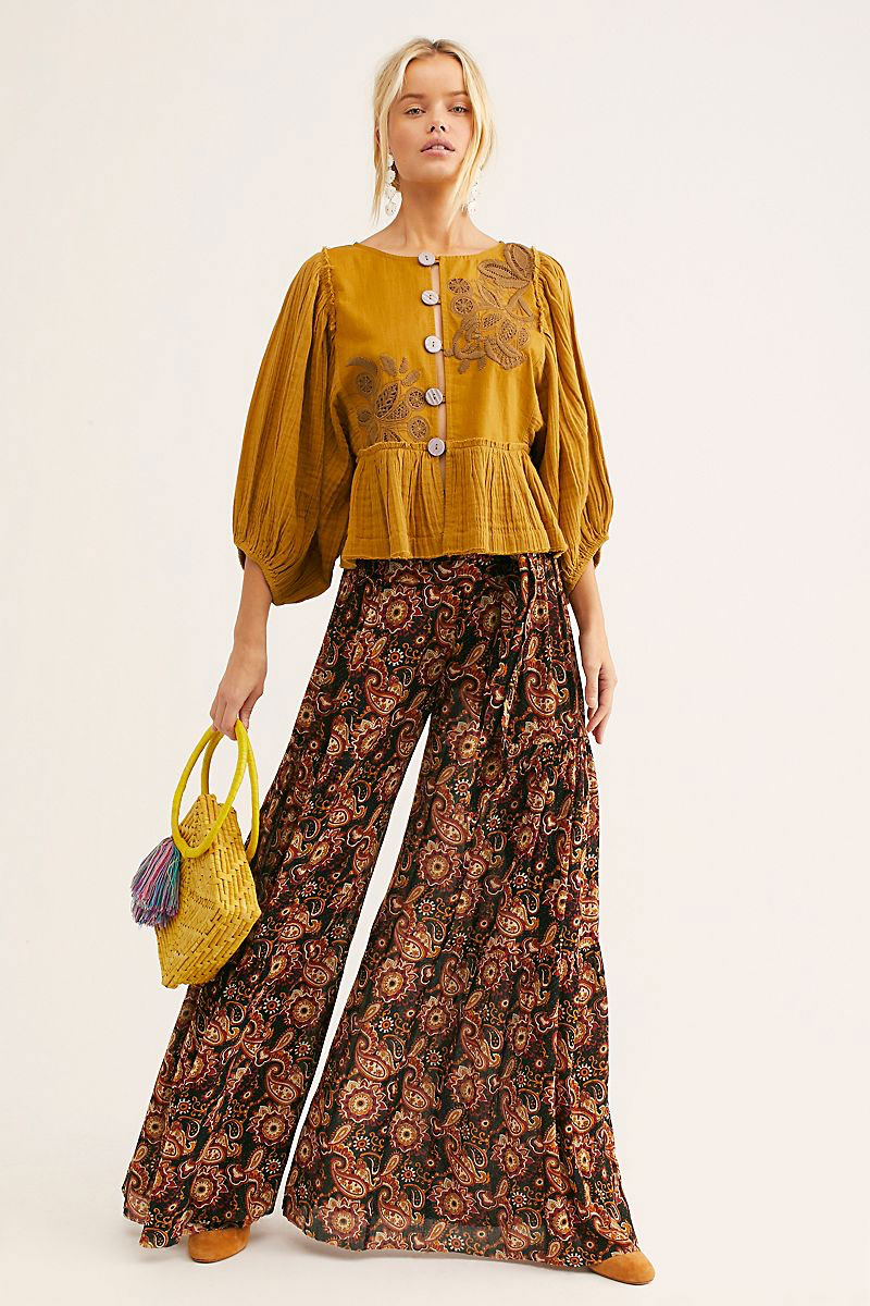 Free People FP One Aloha Printed Wide-Leg Pants