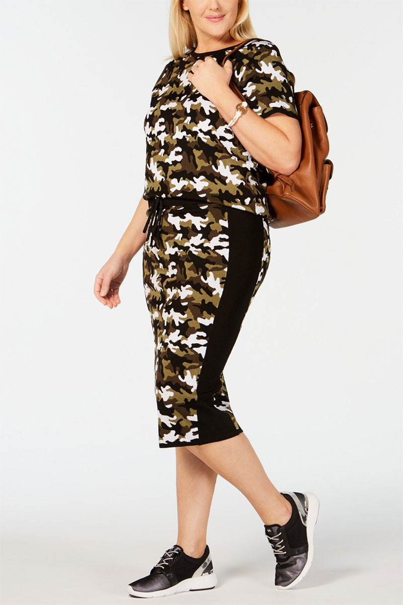 MICHAEL Michael Kors Plus-Size Camo Print Sweater Skirt