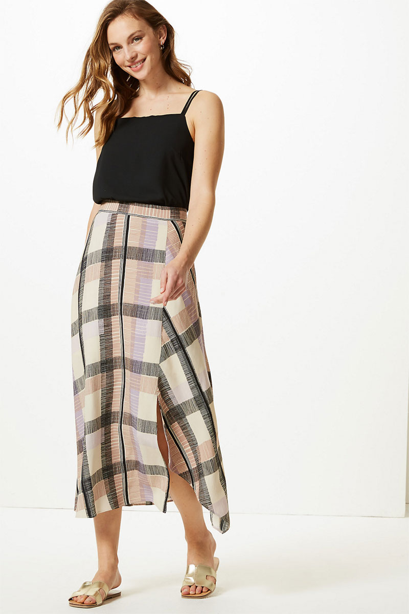 M&S COLLECTION Checked Asymmetric Midi Skirt