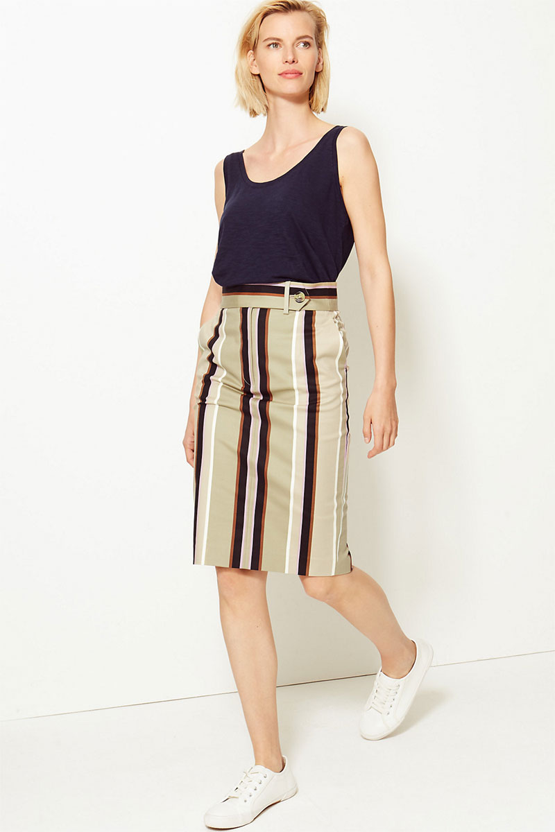 M&S COLLECTION Cotton-Rich Striped Pencil Skirt