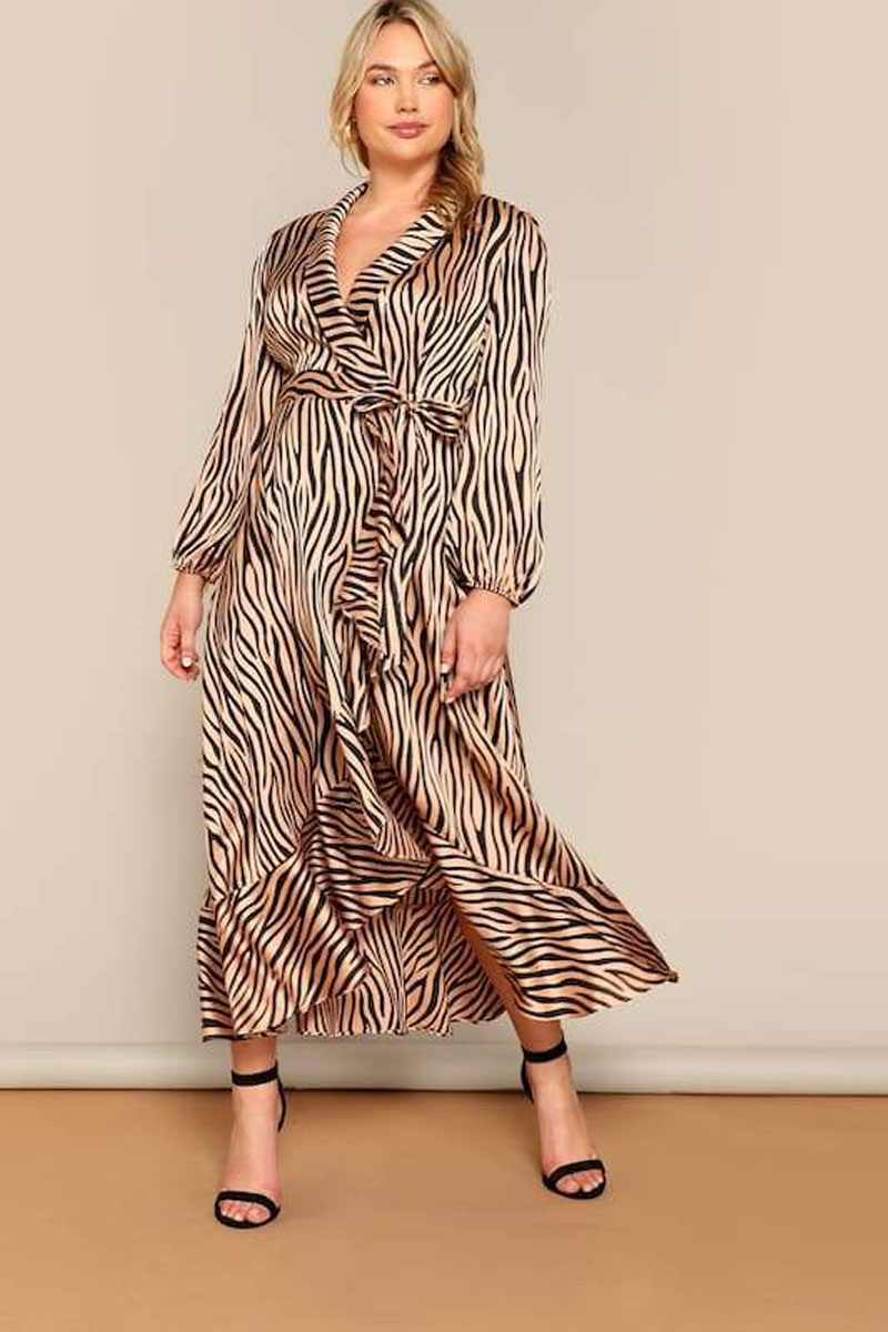 Slayboo Plus Size Zebra Pattern Shawl Collar Belted Wrap Dress