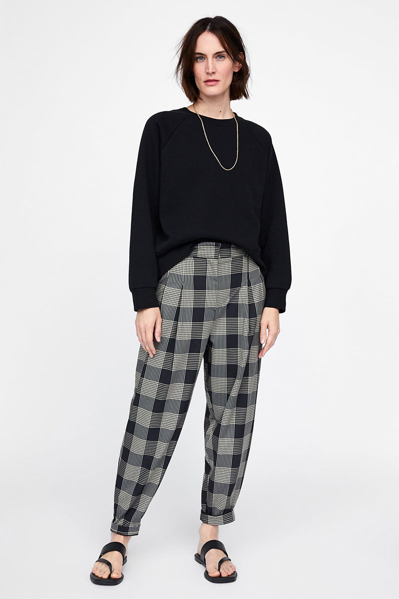 Zara Slouchy Plaid Pants