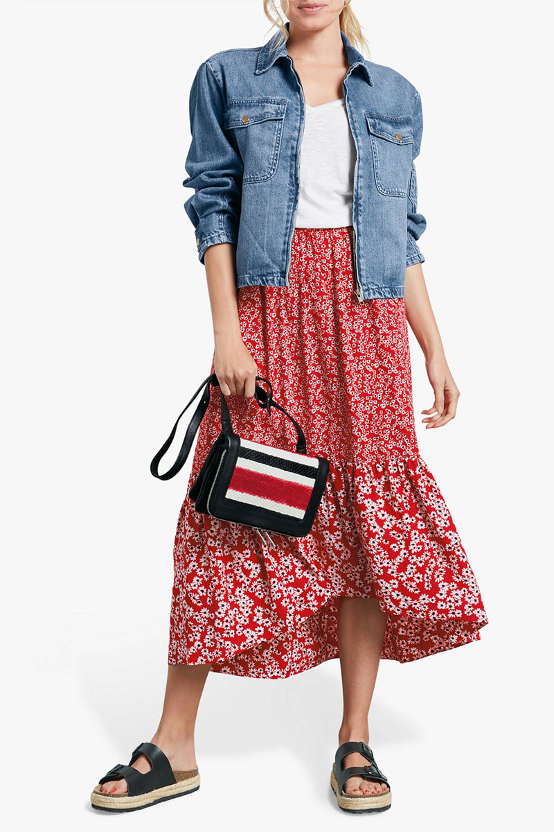 hush Veria Frilly Daisy Print Midi Skirt