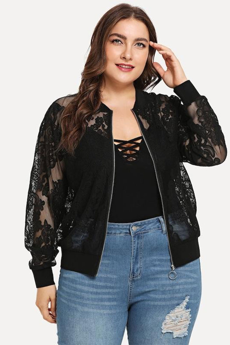 Slayboo Plus Size Solid Lace Jacket