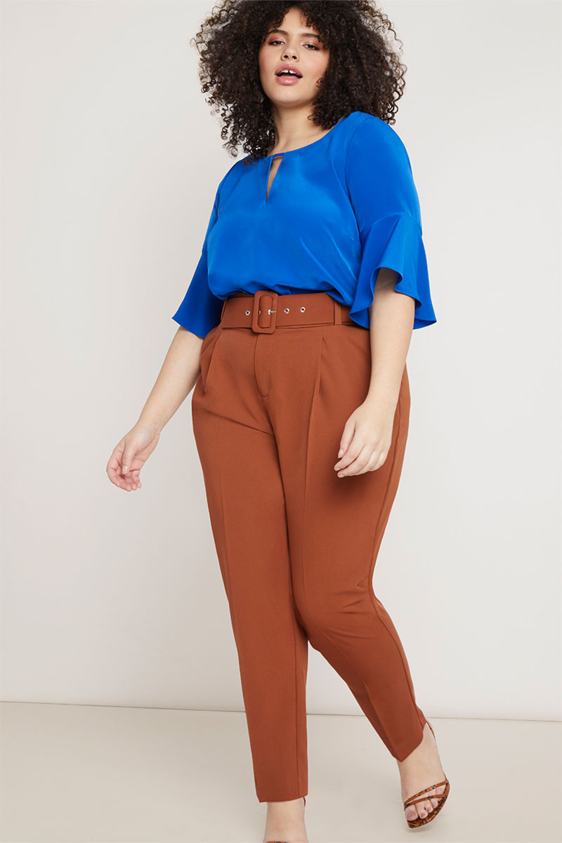 Eloquii High Waisted Trouser with Belt
