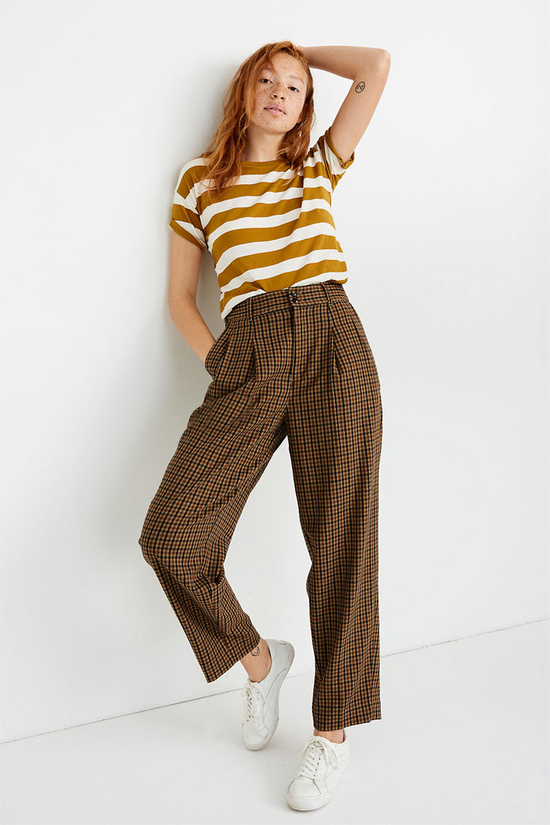 Madewell Pleated Taper Wide Leg Pants in Desert Check
