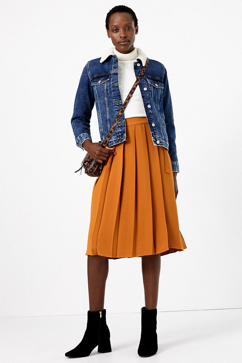 M&S Collection Pleated Midi Skirt