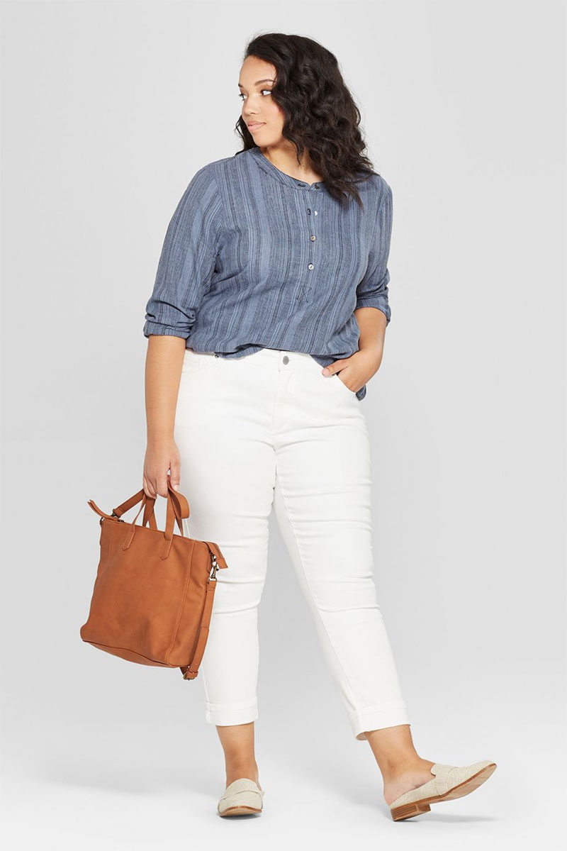 Plus Size Cuffed Hem Skinny Crop Jeans