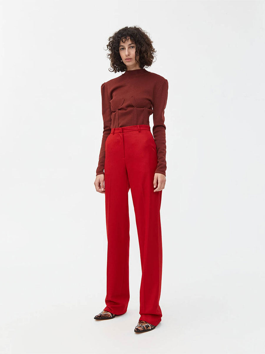 pushBUTTON Wide Leg Wool Pant