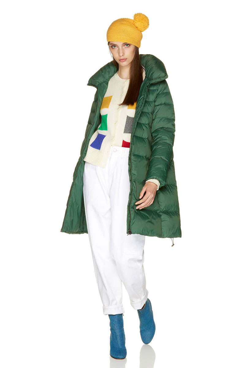 Benetton Long Padded Jacket with High Neck