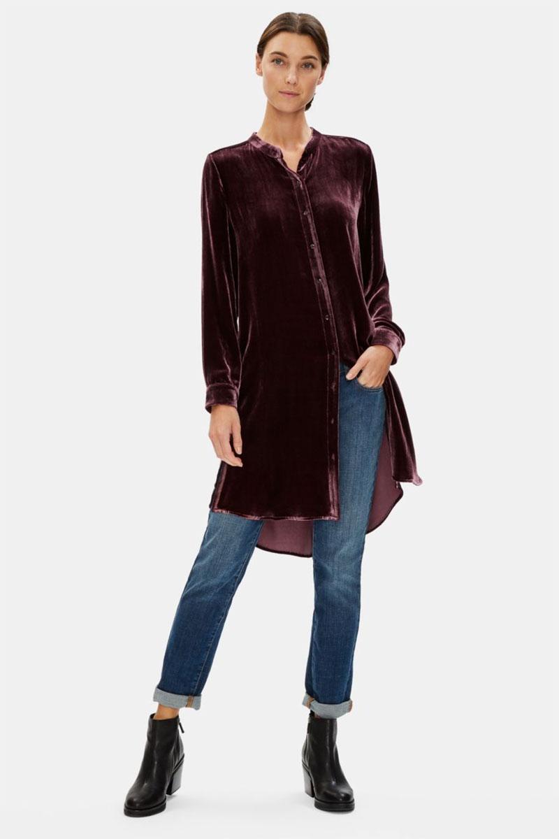 Longue chemise en velours à col mandarin Eileen Fisher