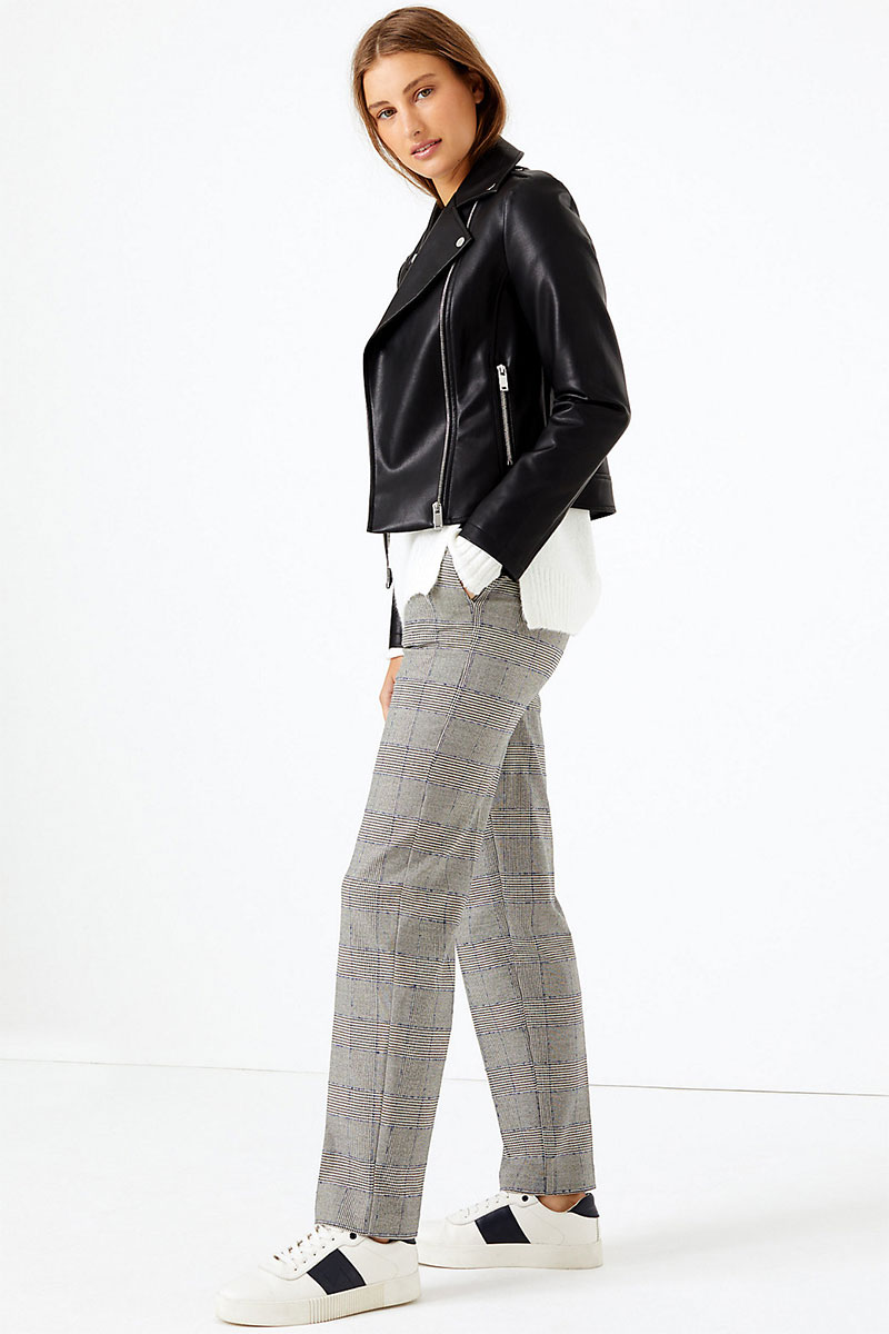 Freya Checked Relaxed Straight Trousers