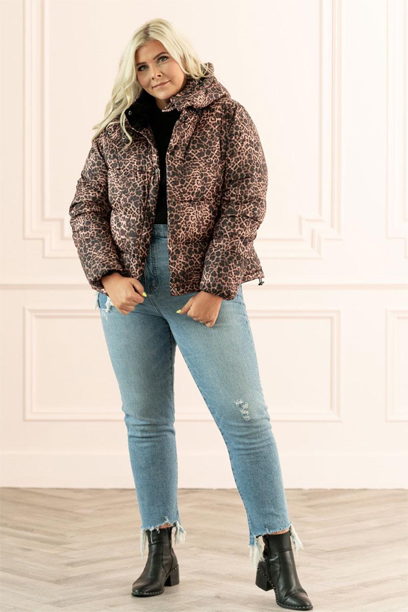 Rachel Parcell Leopard Print Puffer Jacket
