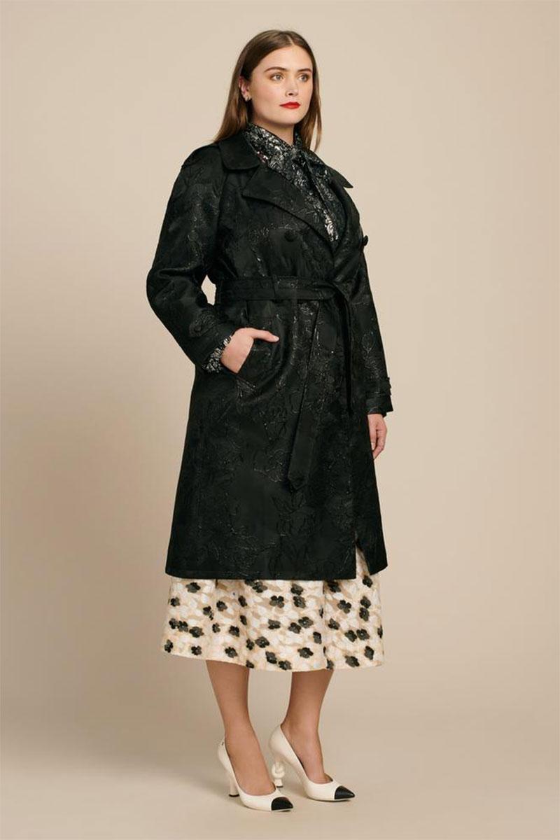 RYAN LO Rose Jacquard Trench Coat