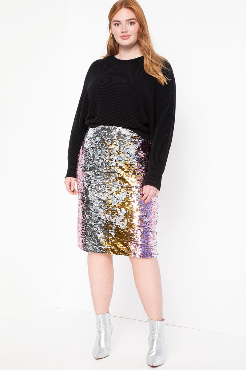 Eloquii Studio Variegated Sequin Pencil Skirt