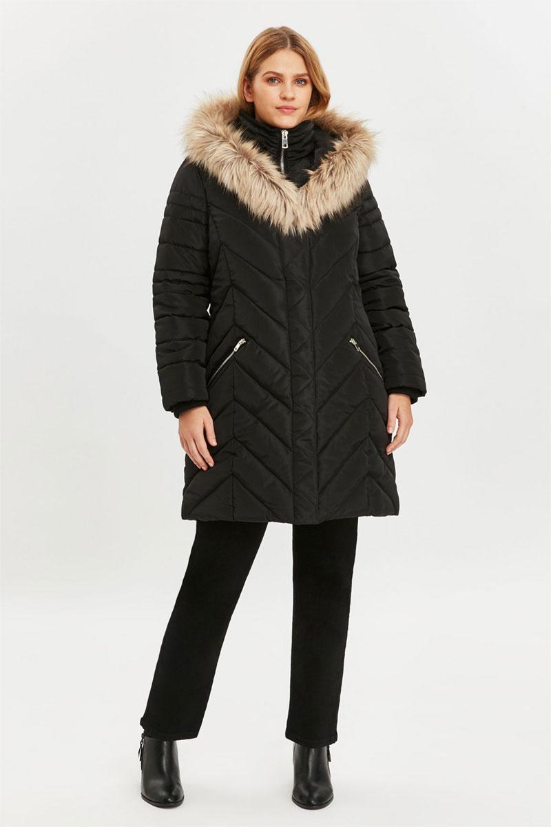 Evans Boutique Black Faux Fur Trim Double Layer Coat