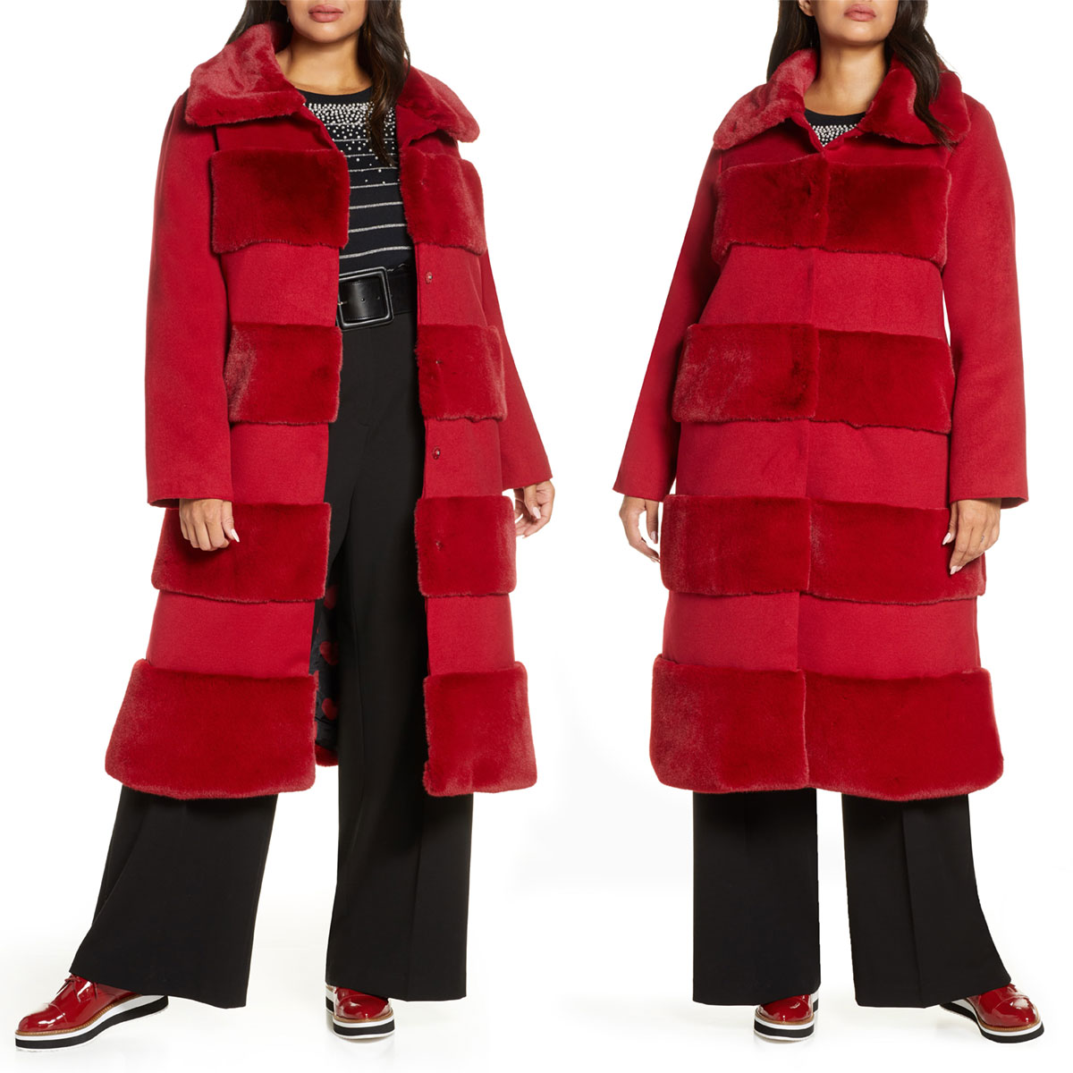 Halogen x Atlantic Pacific Faux Fur Tiered Stripe Long Coat