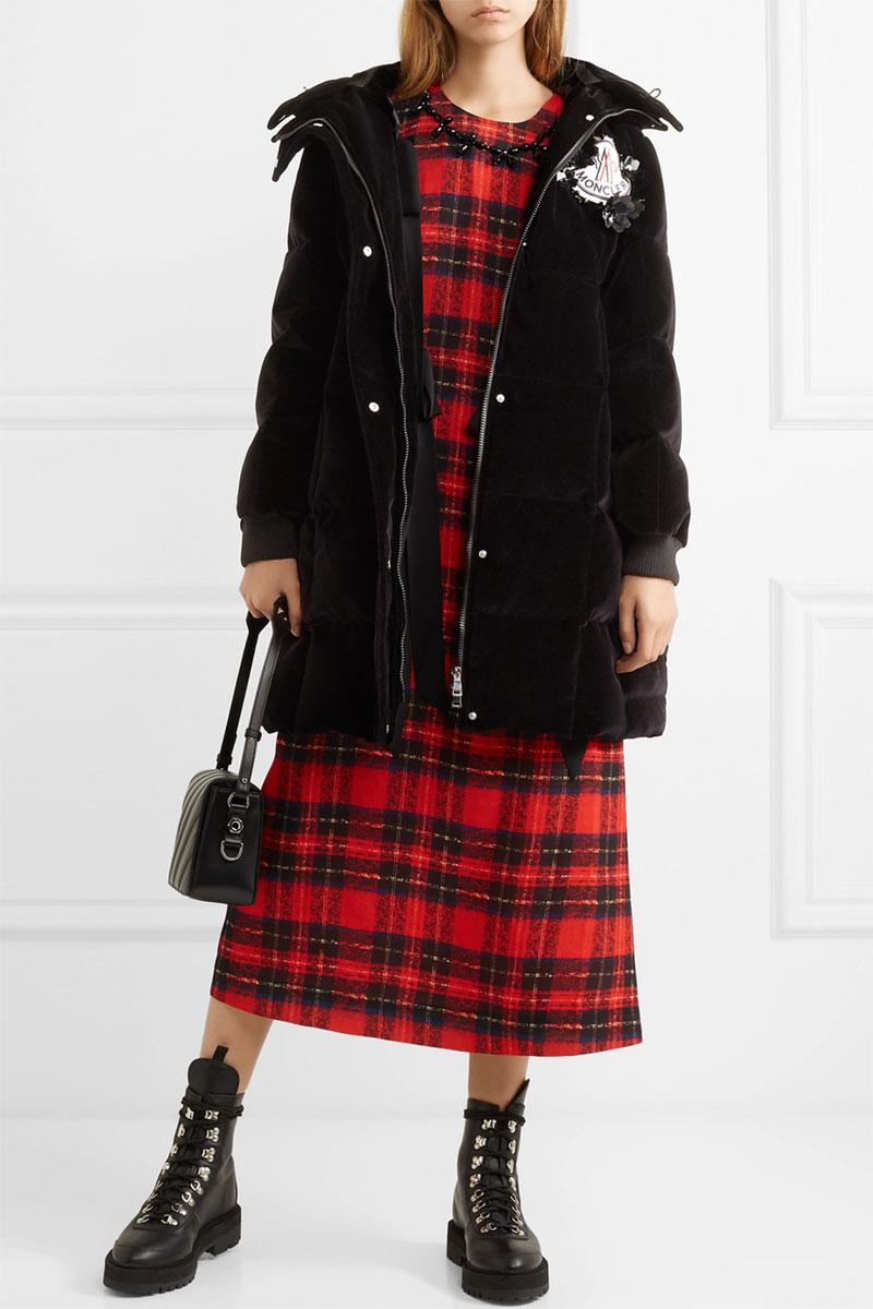 MONCLER GENIUS + 4 Simone Rocha Appliquéd Quilted Cotton-velvet Down Hooded Coat
