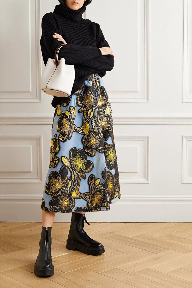 STINE GOYA Laila Metallic Floral-jacquard Midi Skirt