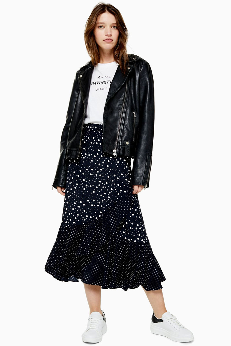 Topshop Black And White Spot Wrap Midi Skirt