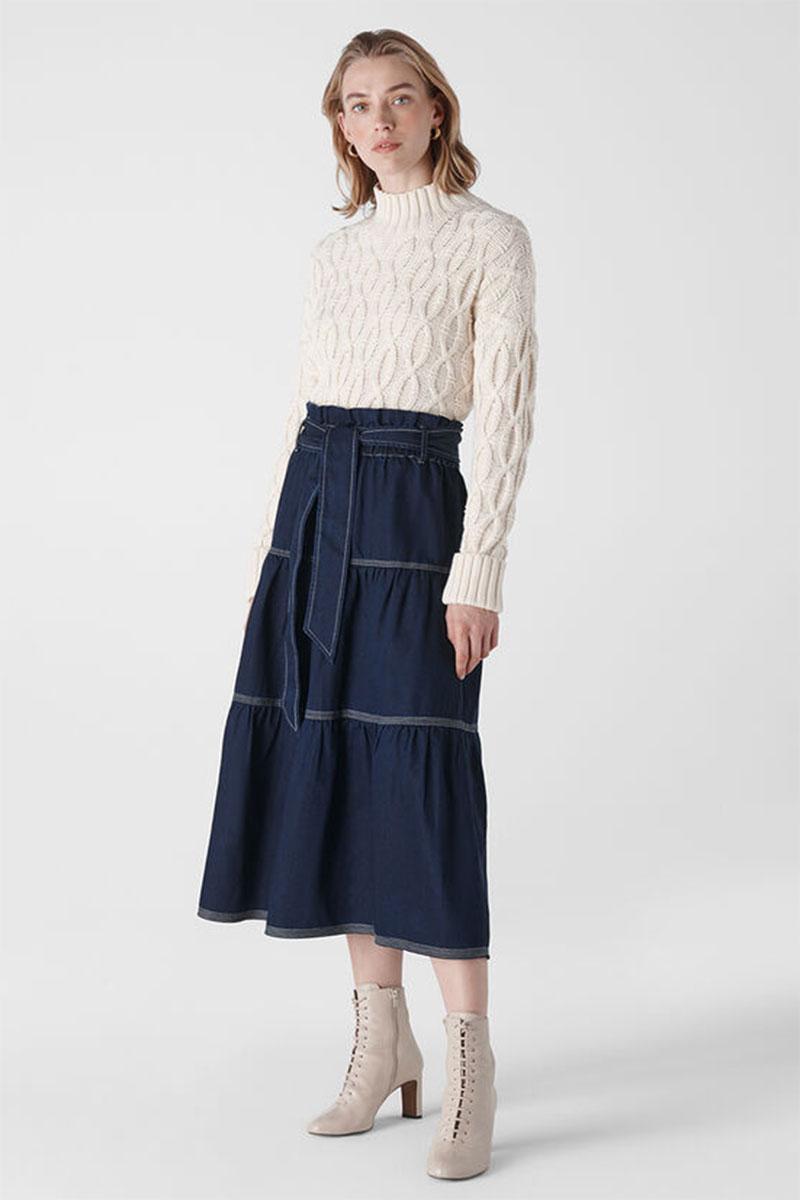 Whistles Hilde Tiered Denim Skirt