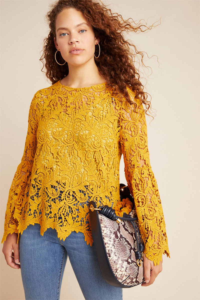 Anthropologie Marigold Lace Blouse