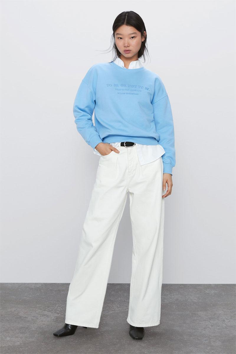 Zara Embroidered Text Sweatshirt