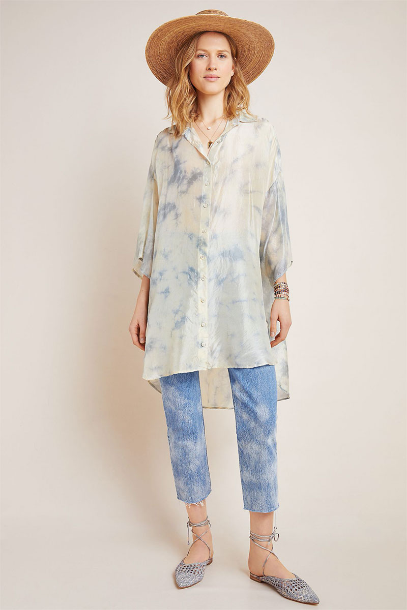 Anthropologie Sybille Tie-Dyed Silk Buttondown
