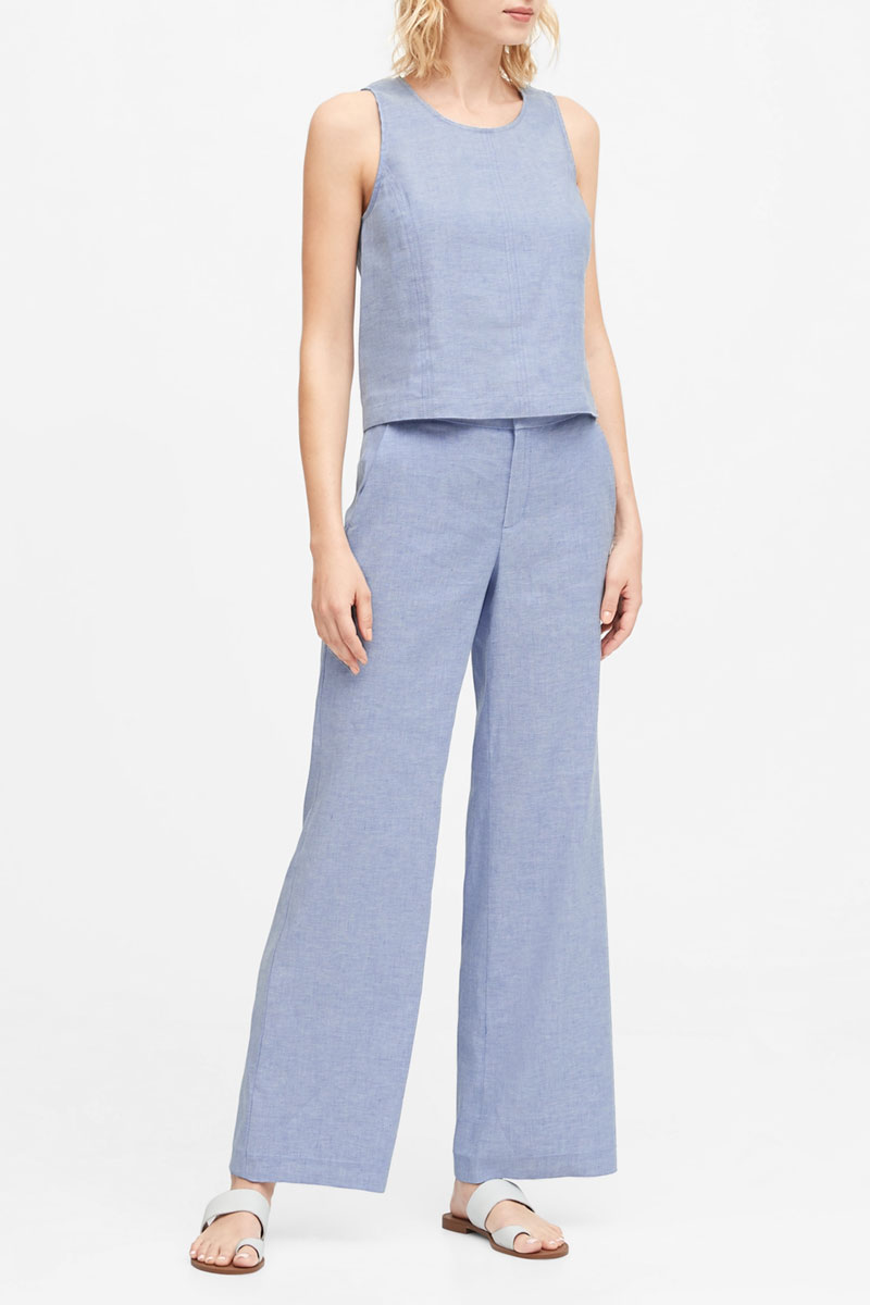 Banana Republic High-Rise Wide Leg Linen Cotton Pant