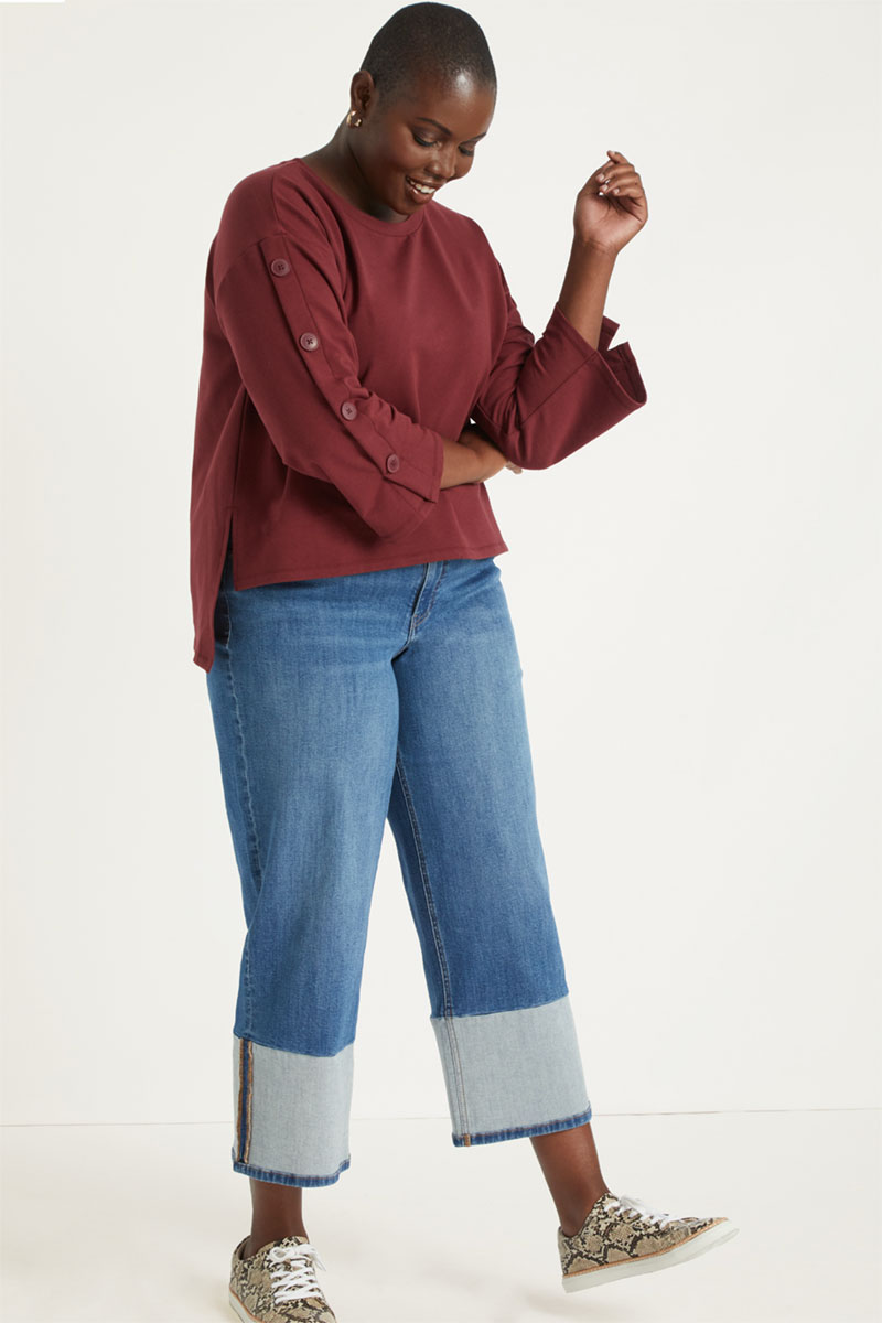 Eloquii Button Sleeve High-Low Sweatshirt