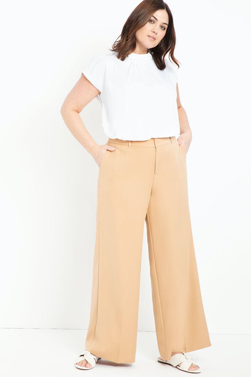 Eloquii Wide-Leg Venice Crepe Trouser
