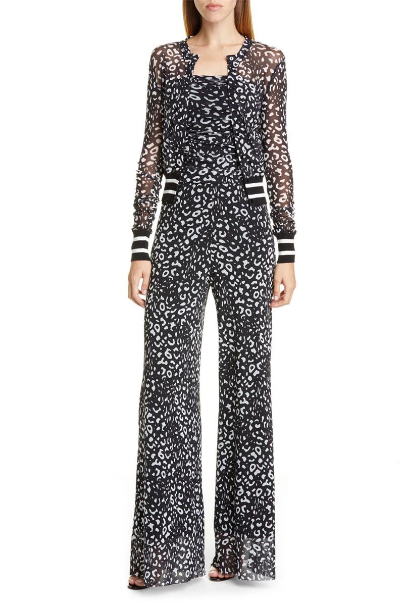 Fuzzi Graphic Leopard Print Tulle Bomber Jacket