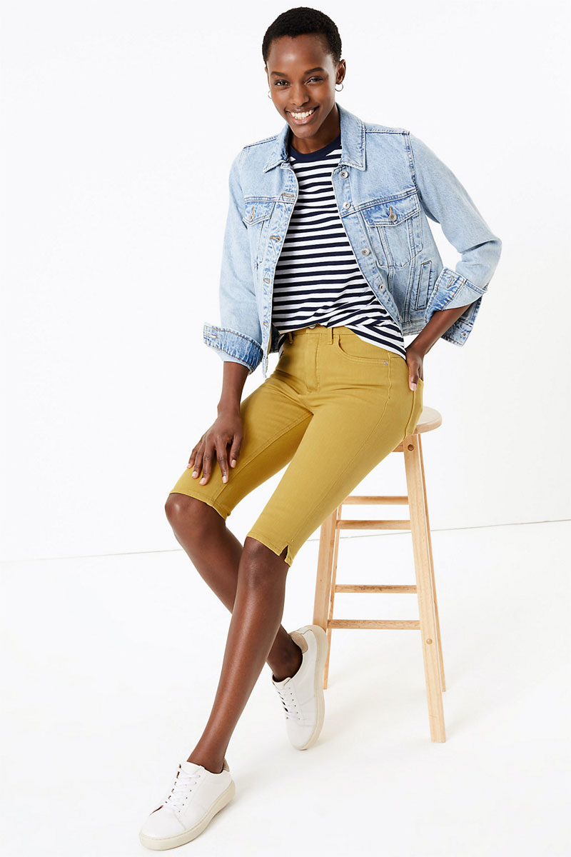 M&S Collection Magic Shaping Denim High Waist Shorts